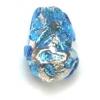 Glass Lamp Bead Pear 13x9mm Crystal/Blue